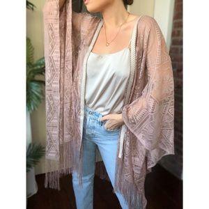 ARA Lace Trim Fringe Boho Kimono Shawl - Mauve